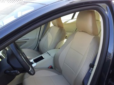 LEATHERETTE & SYNTHETIC TWO FRONT TAN (BEIGE) CAR SEAT COVERS (Fits VOLVO S40 V40 S60 S70 V70 S80)