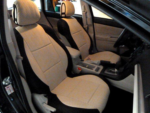 TWO FRONT CUSTOM BEIGE/BLACK VELOUR SYNTHETIC CAR SEAT COVERS (Fits SUBARU XV CROSSTREK)
