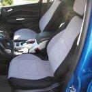 TWO FRONT CUSTOM GREY/BLACK VELOUR SYNTHETIC CAR SEAT COVERS (Fits SUBARU XV CROSSTREK)