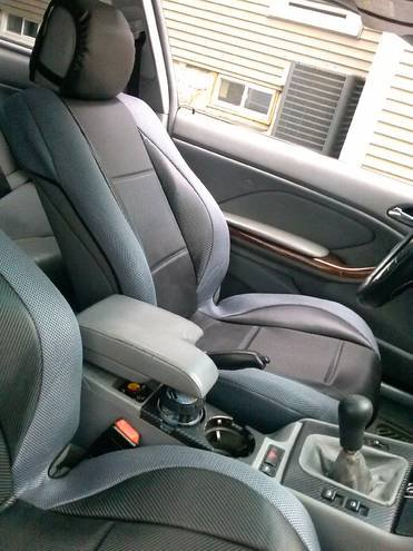 MIX L. CARBON FIBER & SYNTHETIC TWO FRONT GRAY/BLACK CAR SEAT COVERS (Fits BMW 3 E36 CONVERTIBLE)