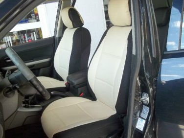 Fits RANGE ROVER P38 1994-2001 LEATHERETTE & SYNTHETIC TWO FRONT CUSTOM SUGAR/BLACK CAR SEAT COVERS