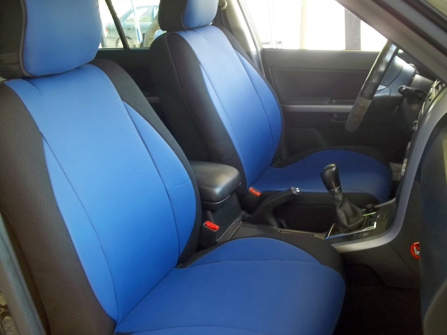 Fits RANGE ROVER P38 1994-2001 LEATHERETTE & SYNTHETIC TWO FRONT CUSTOM BLUE/BLACK CAR SEAT COVERS