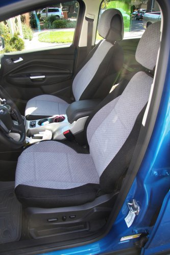 VW AMAROK TWO FRONT CUSTOM GREY/BLACK VELOUR SYNTHETIC CAR SEAT COVERS
