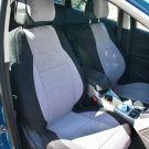 VW GOLF 2009-2013 3 DRS MK6 TWO FRONT CUSTOM GREY/BLACK VELOUR SYNTHETIC CAR SEAT COVERS