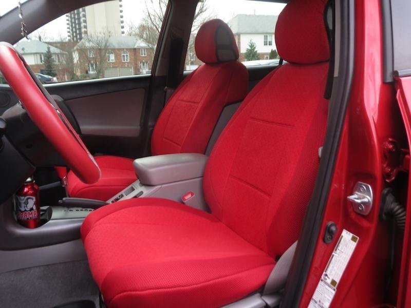 Ford Focus 2005�2011 TWO FRONT CUSTOM RED VELOUR SYNTHETIC CAR SEAT COVERS