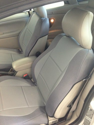 mix LEATHERETTE & SYNTHETIC TWO FRONT CUSTOM GRAY CAR SEAT COVERS fits VOLVO C70 1997-2005