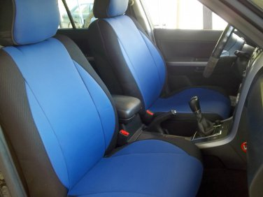 SUBARU XV CROSSTREK MIX LEATHERETTE & SYNTHETIC TWO FRONT CUSTOM BLUE BLACK CAR SEAT COVERS