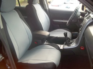 MERCEDES S-Class 1979-1992 W126 MIX LEATHERETTE & SYNTHETIC TWO FRONT GRAY BLACK CAR SEAT COVERS