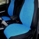 TWO FRONT CUSTOM BLUE/BLACK VELOUR SYNTHETIC CAR SEAT COVERS (Fits AUDI A4 2008-2015)