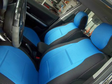 TWO FRONT CUSTOM BLUE/BLACK DIAMOND SYNTHETIC CAR SEAT COVERS (Fits AUDI A4 2008-2015)