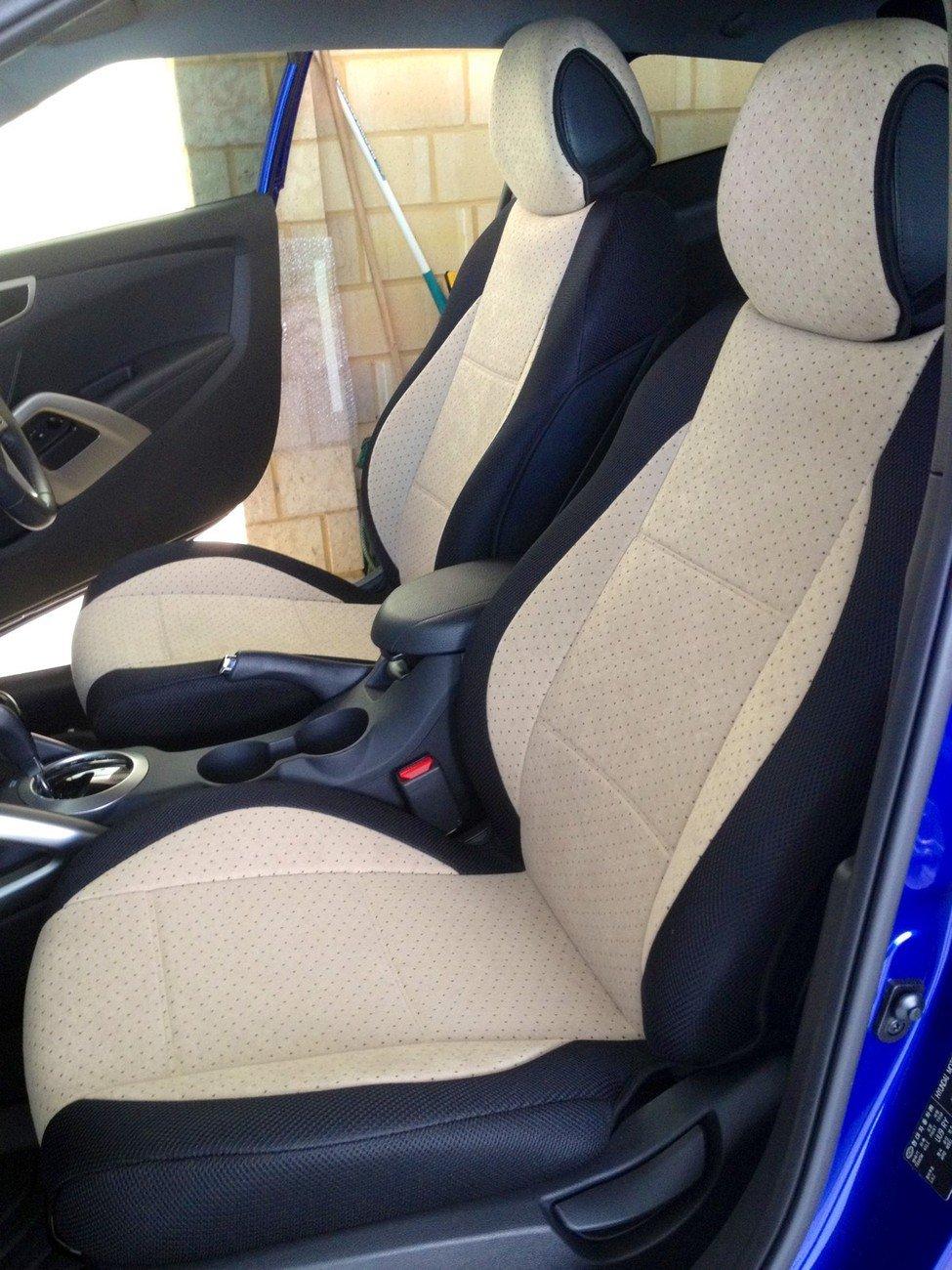 HONDA CR-V 2007�2012 TWO FRONT CUSTOM BEIGE/BLACK VELOUR SYNTHETIC CAR SEAT COVERS