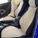 FIAT BRAVO 2007-NOW TWO FRONT CUSTOM BEIGE/BLACK VELOUR SYNTHETIC CAR SEAT COVERS