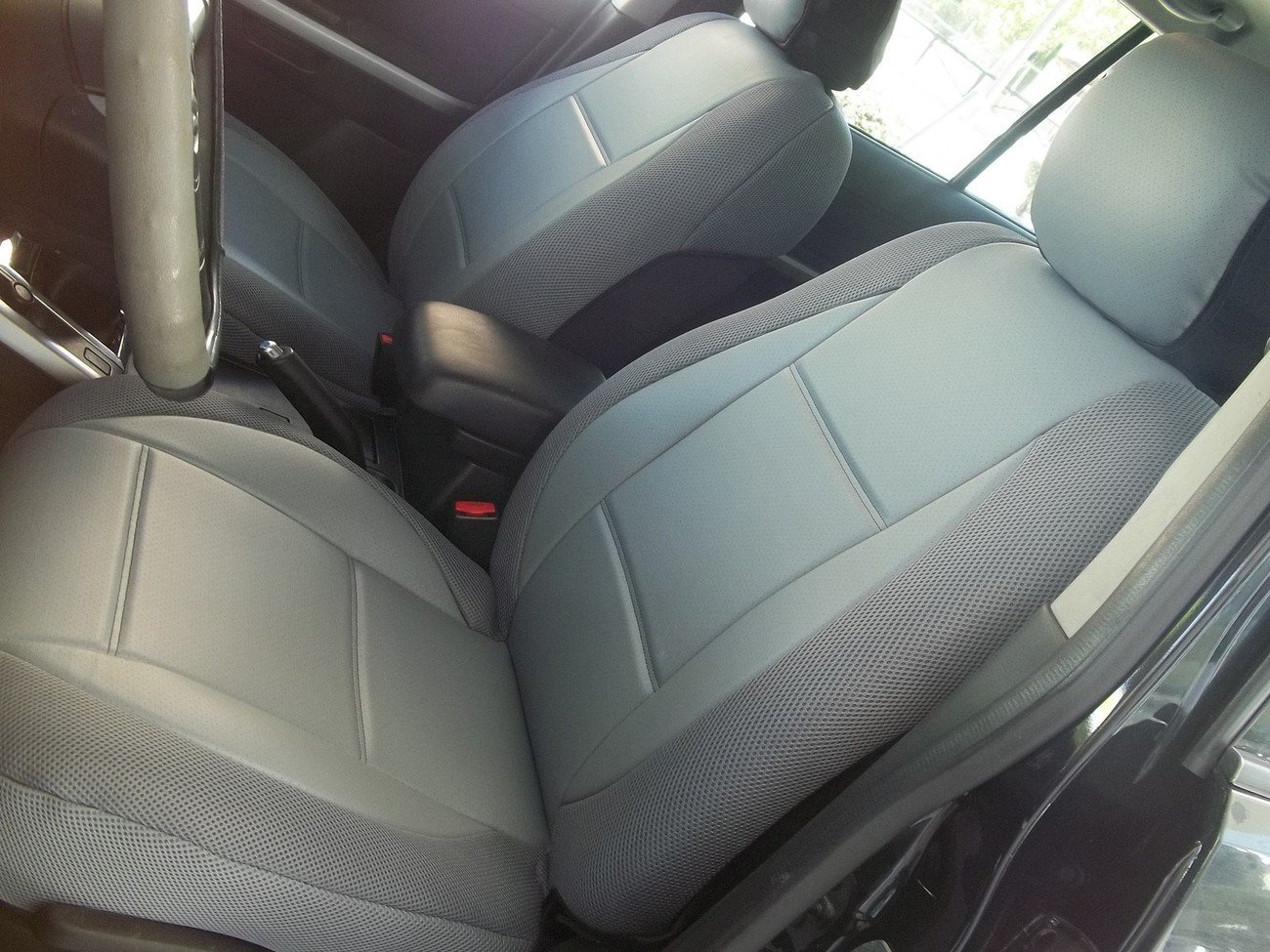 FIAT BRAVO 2007-NOW MIX LEATHERETTE & SYNTHETIC TWO FRONT GRAY CAR SEAT COVERS