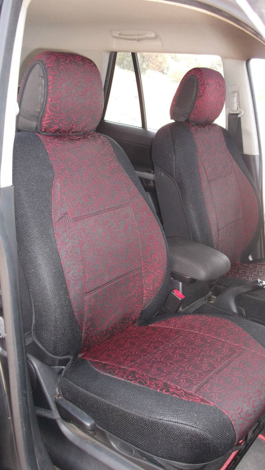Two Front Red Black Fancy Cotton & Synthetic (K45) Car Seat Covers (Fits AUDI A6 2011�.....)