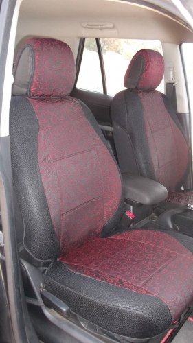 Two Front Red Black Fancy Cotton & Synthetic (K45) Car Seat Covers (Fits AUDI A4 2008-2015)