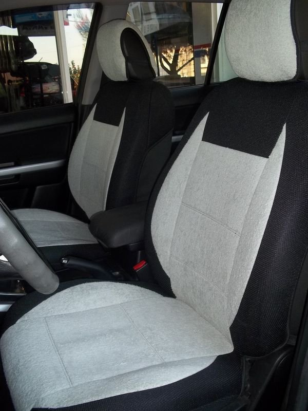 Peugeot 407 4/5 doors MIX COTTON TOWEL & SYNTHETIC TWO FRONT GREY CAR SEAT COVERS