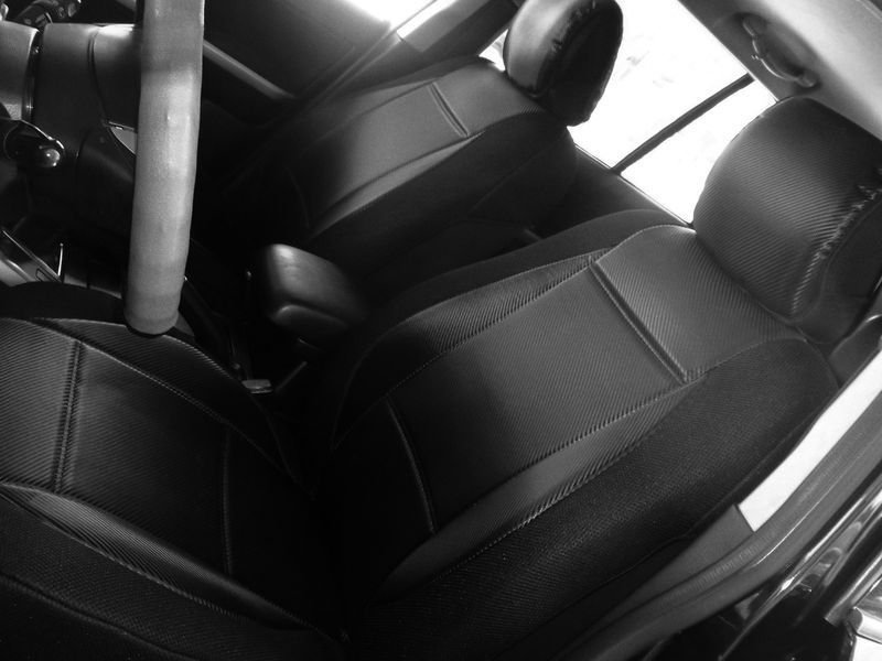 NEW FIAT 500 2door L. CARBON FIBER & SYNTHETIC TWO FRONT BLACK CAR SEAT COVERS
