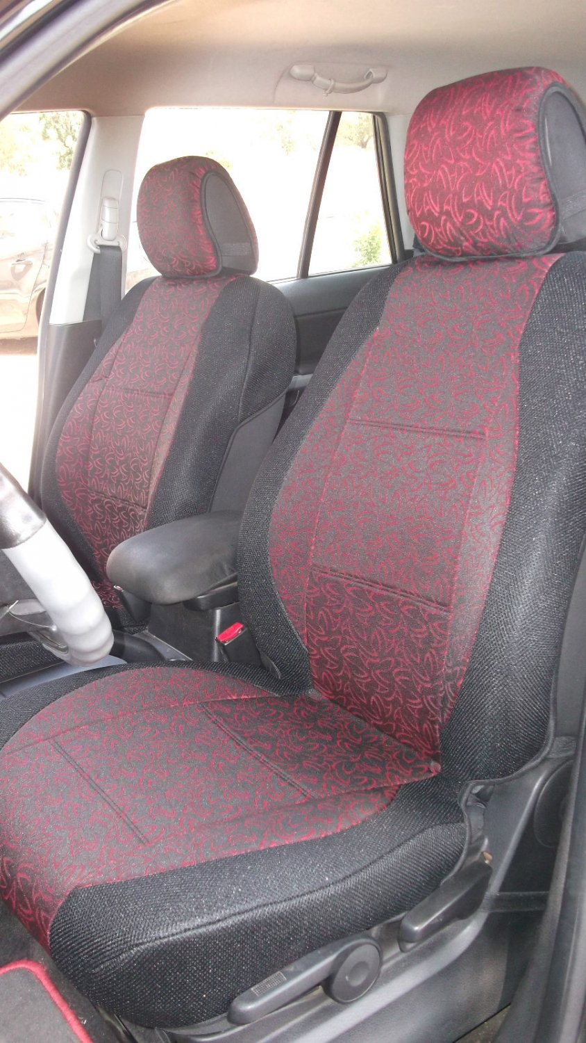 Two Front Fancy Cotton Red Black (K45) Car Seat Covers (Fits MERCEDES C-Class 1993-2000 W202)