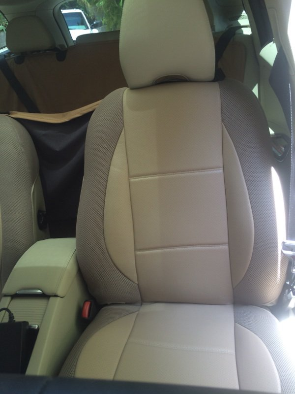 MIX LEATHERETTE & SYNTHETIC TWO FRONT TAN (BEIGE) SEAT COVERS (Fits VOLVO XC60 2015-......)