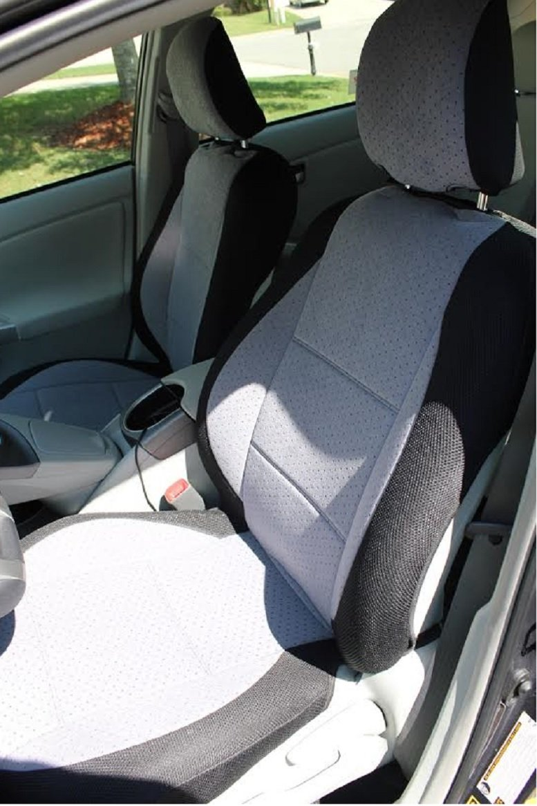 toyota prius 2010 two front custom velour gray black car seat covers. Black Bedroom Furniture Sets. Home Design Ideas