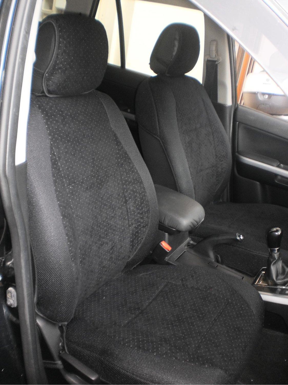 TWO FRONT CUSTOM BLACK VELOUR SYNTHETIC CAR SEAT COVERS (Fits SUBARU XV CROSSTREK)