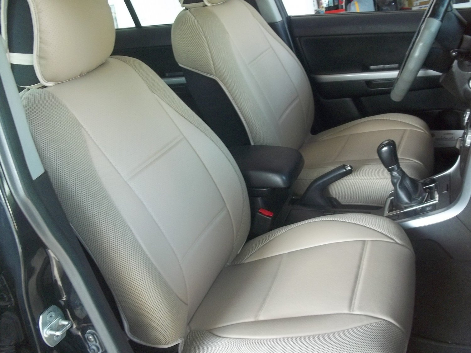 MIX LEATHERETTE & SYNTHETIC TWO FRONT BEIGE (TAN) CAR SEAT COVERS (Fits SUBARU IMPREZA 2012-..... )