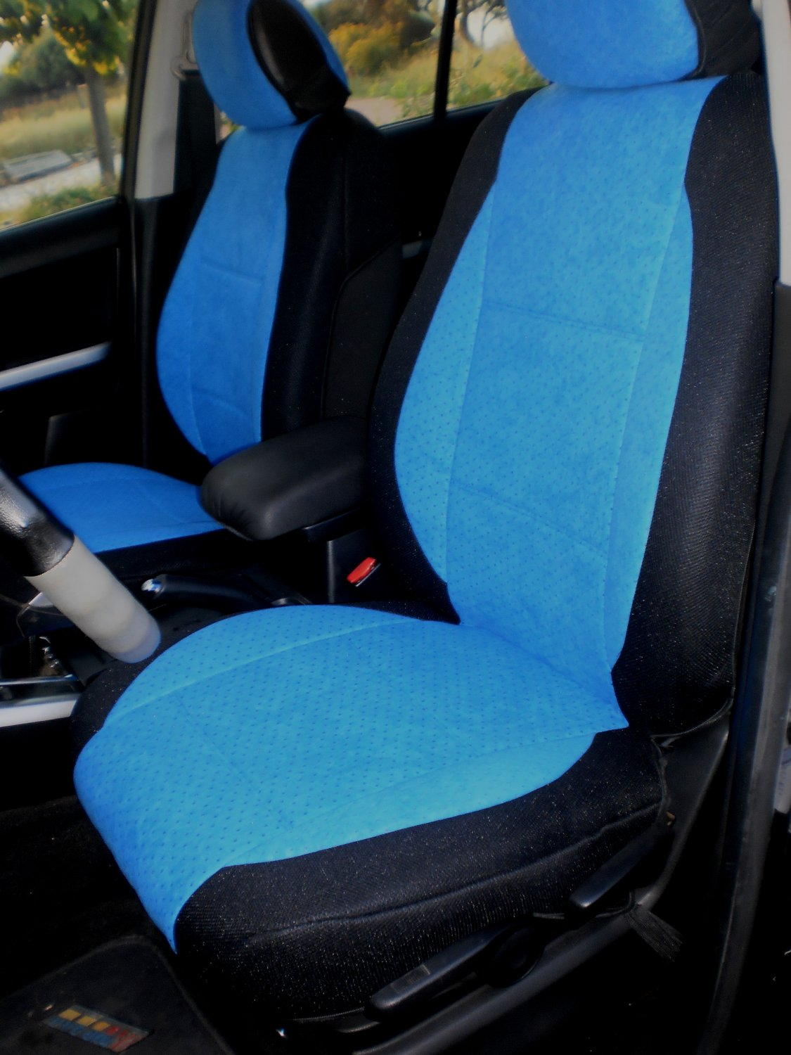 TWO FRONT CUSTOM BLUE/BLACK VELOUR SYNTHETIC CAR SEAT COVERS (Fits Mercedes SLK-Class 1996�2004)