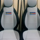 GREY COTTON & BLACK SYNTHETIC TWO FRONT CUSTOM CAR SEAT COVERS (Fits NEW MINI 2001-...)
