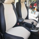 Peugeot 308 TWO FRONT SUGAR BLACK LEATHERTTE CAR SEAT COVERS