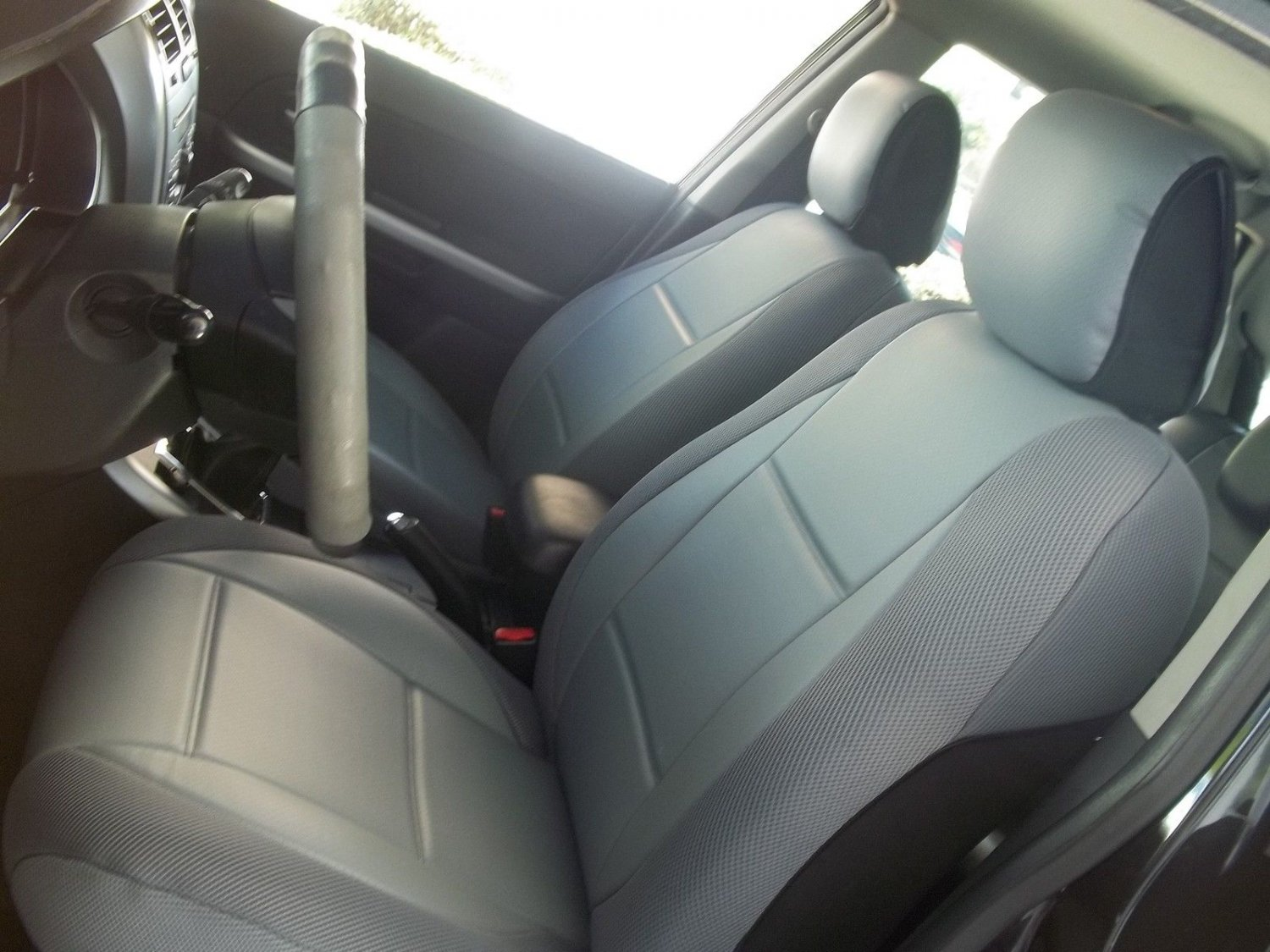 Mitsubishi Triton & L200 2004�2014 MIX LEATHERETTE & SYNTHETIC TWO FRONT GRAY CAR SEAT COVERS