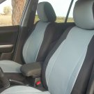 MIX LEATHERETTE & SYNTHETIC TWO FRONT GRAY BLACK CAR SEAT COVERS (Fits AUDI A6 2004–2011)