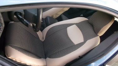 MIX TWO FRONT TAN LEATHERTTE & TAN BLACK FISHNET CAR SEAT COVERS fits VOLVO S40 V40 S60 S70 V70 S80