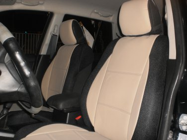 LAND ROVER FREELANDER-1 MIX LEATHERETTE & SYNTHETIC TWO FRONT CUSTOM TAN BLACK CAR SEAT COVERS