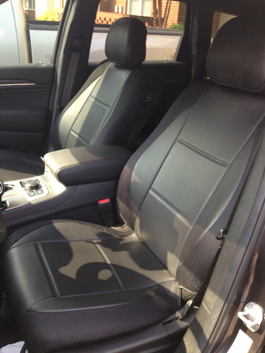 MERCEDES 190 190E 190D MIX LEATHERETTE & SYNTHETIC TWO FRONT BLACK CAR SEAT COVERS