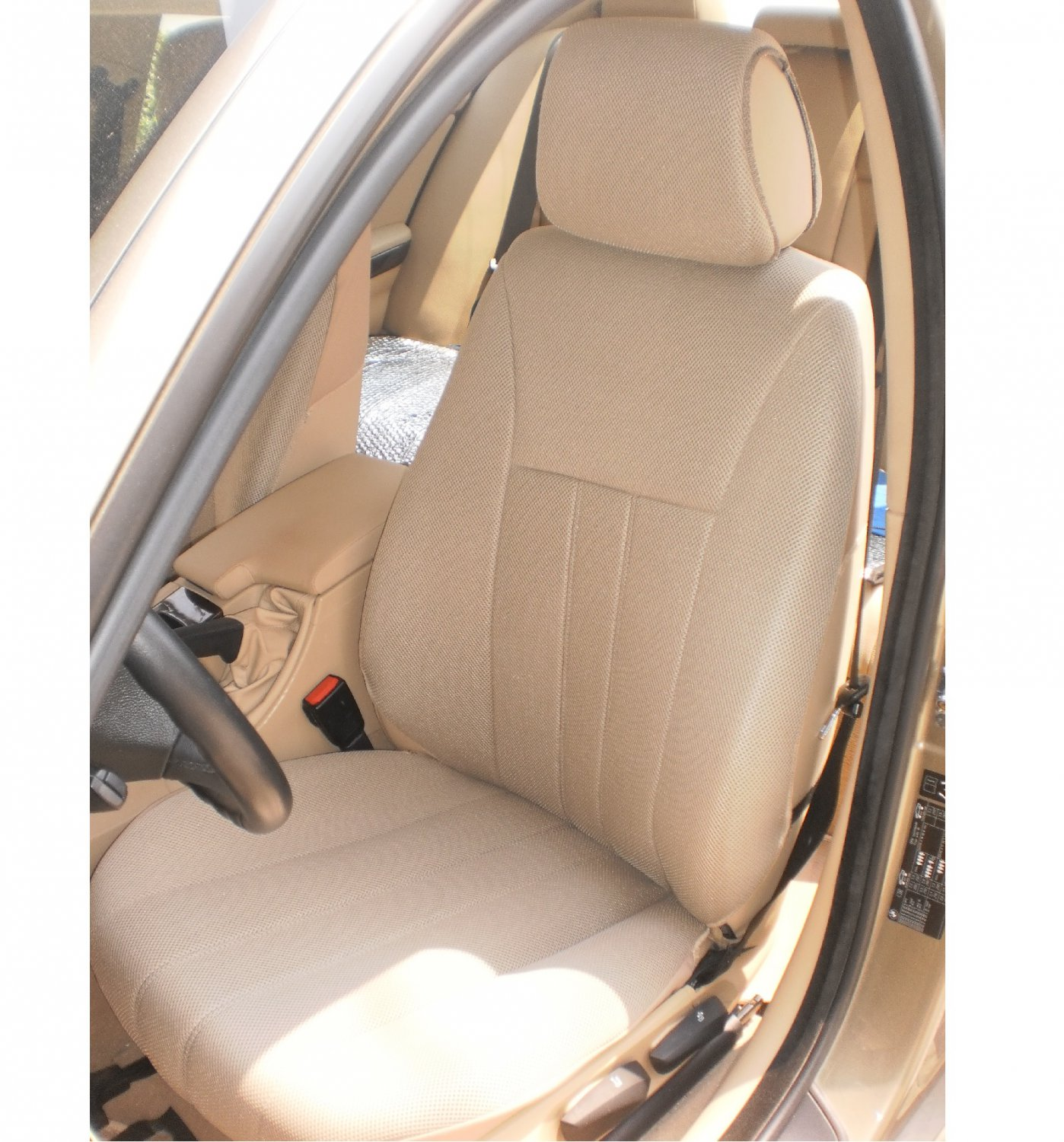 TWO FRONT CUSTOM TAN CLASSIC SYNTHETIC CAR SEAT COVERS ...