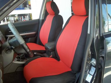 MIX LEATHERETTE & SYNTHETIC TWO FRONT RED BLACK CAR SEAT COVERS fits BMW 5 Series E39 1995-2003