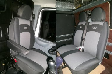 CUSTOM COTTON THREE FRONT CAR SEAT COVERS (Fits FORD TRANSIT 2002-2008)