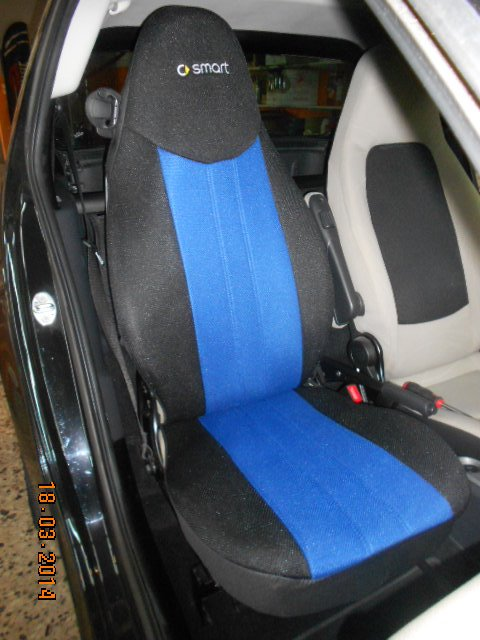 TWO FRONT CUSTOM SYNTHETIC BLUE BLACK CAR SEAT COVERS fits SMART FORTWO 2007-2014 451