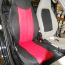TWO FRONT CUSTOM SYNTHETIC RED BLACK CAR SEAT COVERS fits SMART ROADSTER