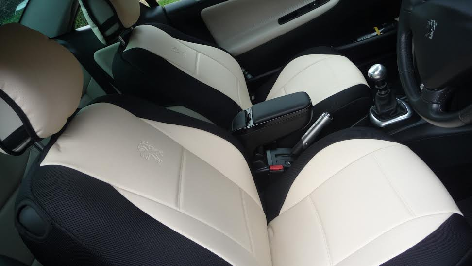 TWO FRONT SUGAR BLACK LEATHERTTE CAR SEAT COVERS (Fits Peugeot 207cc CABRIOLET)