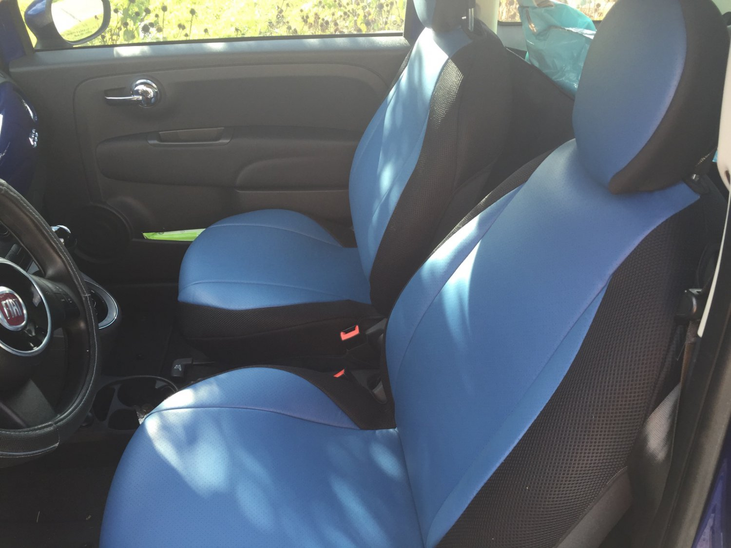 NEW FIAT 500 2door MIX LEATHERETTE & SYNTHETIC TWO FRONT CUSTOM BLUE BLACK CAR SEAT COVERS