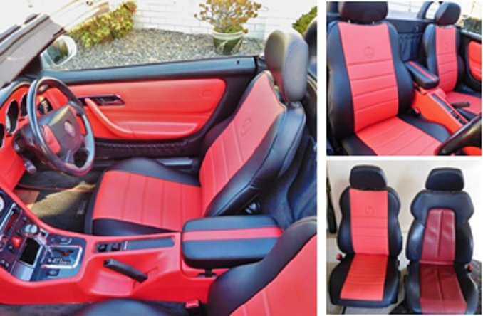 LEATHERETTE TWO FRONT RED BLACK CUSTOM CAR SEAT COVERS fits MERCEDES SLK-CLASS 1996�2004