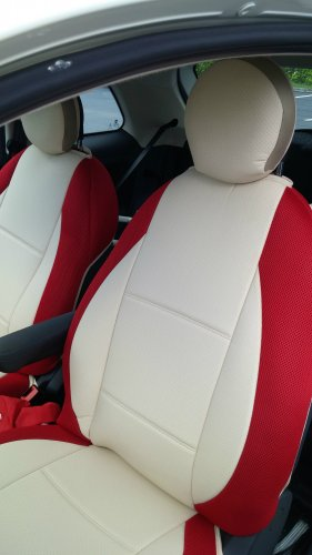 MIX LEATHERETTE & SYNTHETIC TWO FRONT CUSTOM SUGAR RED CAR SEAT COVERS fits FIAT 500 2door