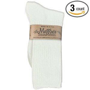 Maggies Functional Organics White Cotton Crew Sock, 9 to 11 Size -- 3 per