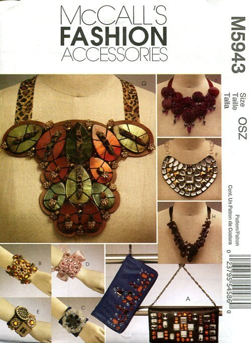 McCall�s 5943 Fashion Accessories Pattern for Clutch, Cuffs, & Necklaces FF One Size OOP