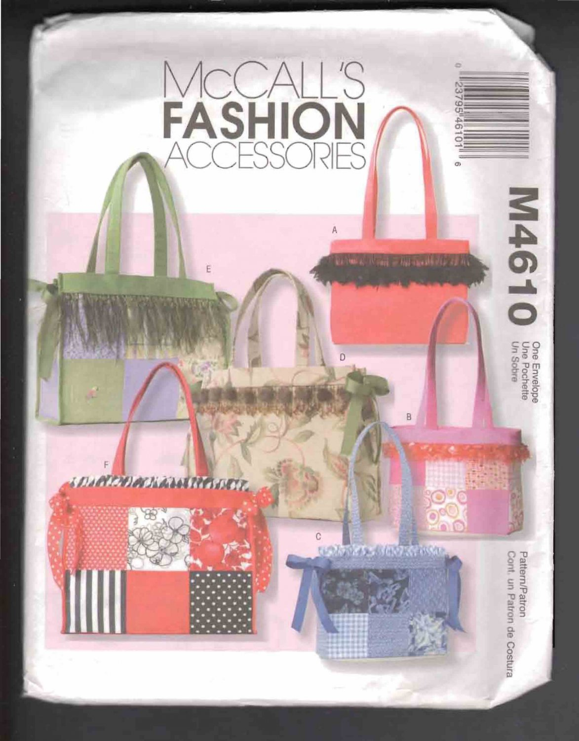 McCall�s 4610 Misses� Totes Pattern, Various Sizes, FF& OOP