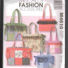 McCall's 4610 Misses' Totes Pattern, Various Sizes, FF& OOP