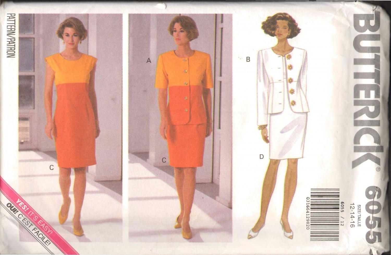 Butterick 6055 Misses� Jacket & Dress Pattern Sizes 12-16 OOP FF