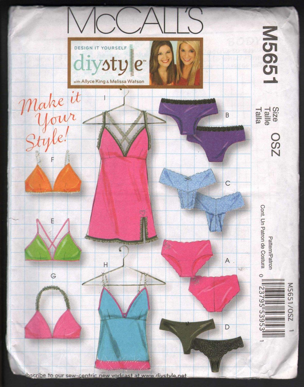 OOP MCall�s 5651 Misses Panties,Bras,Camisole, & Slip Pattern Varied Styles OSZ (XS-L) FF