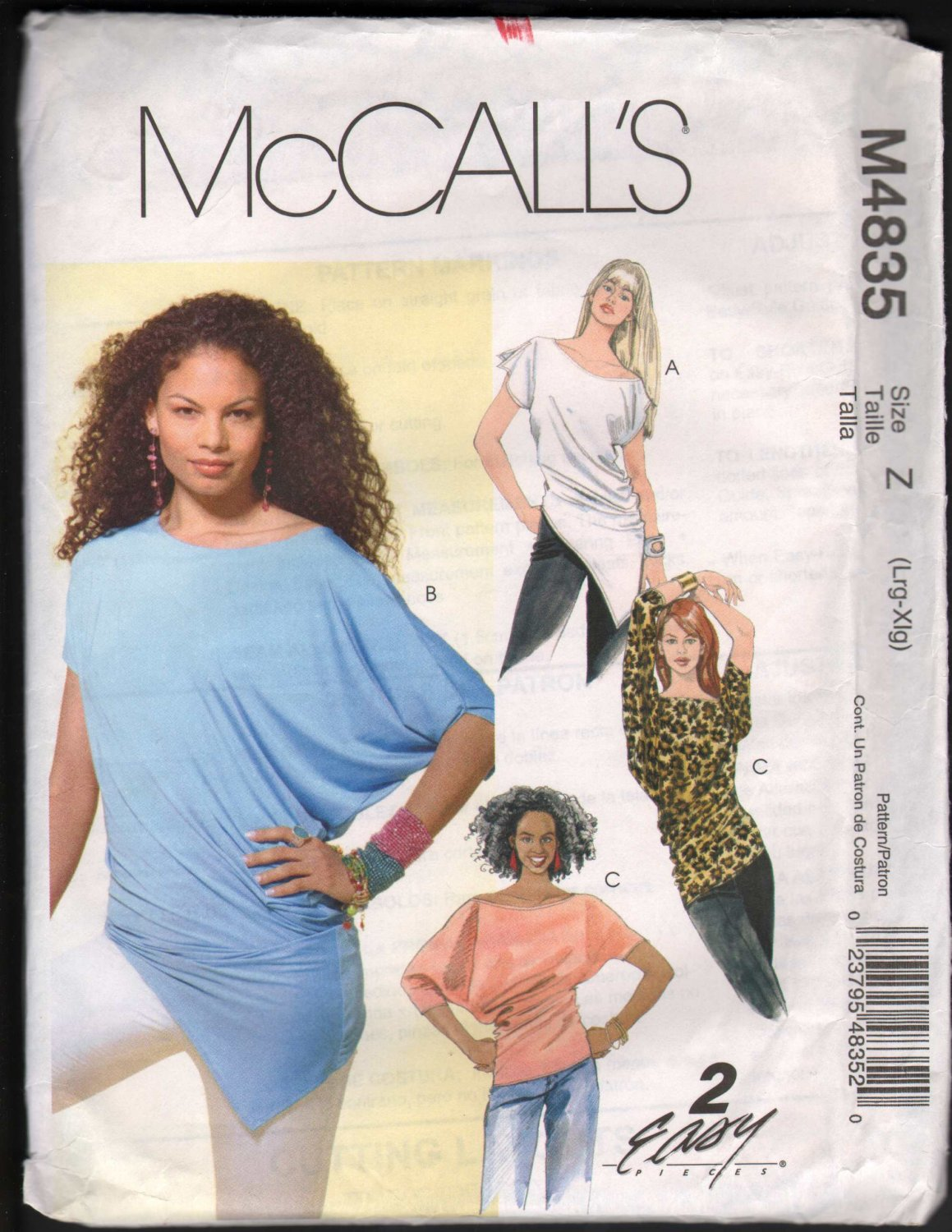 OOP McCall�s 4835 Misses� Knit Pullover Tops SZ L-XL FF
